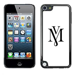Planetar® ( Mv Letters Initials Calligraphy White Text ) Apple iPod Touch 5 Fundas Cover Cubre Hard Case Cover