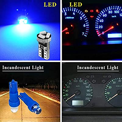 YITAMOTOR 20x T5 3-SMD Instrument Panel Cluster Dash LED Bulb Light Lamp 74 70 37 17, Blue: Automotive