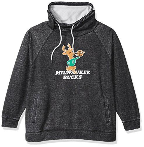 Touch by Alyssa Milano NBA Milwaukee Bucks Spiral Sweatshirt Plus, 3X, Charcoal Grey