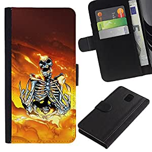 KLONGSHOP // Tirón de la caja Cartera de cuero con ranuras para tarjetas - Skeleton Warrior - Samsung Galaxy Note 3 III //