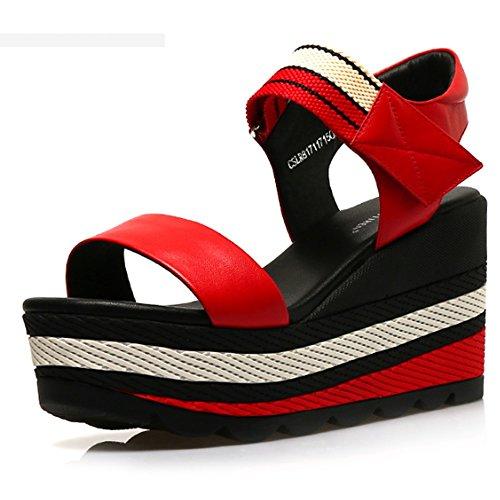 Zapatos con sandalias tacón de opcional alto salvajes tamaño zapatos colores A gruesos del de 3 Sandalias Cómodo Color planos B Pendiente opcionales los verano Tamaño impermeables Aumentado 5qvvp