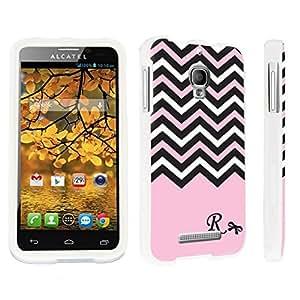 DuroCase ? Alcatel One Touch Fierce 7024W Hard Case White - (Black Pink White Chevron R)