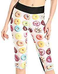 Sister Amy Women S 3d Pattern Print Workout Running Capri Pants Crop Leggings Doughnuts Us M