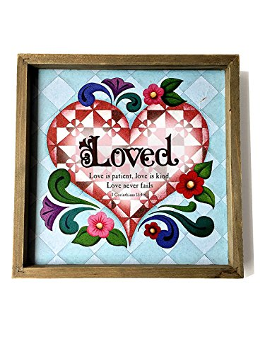 Love 10x10 Framed Art Heart Print. Decorative Wall Hanging 3D Box plaque trimmed in warm washed wood, Sign displays quilted artistry detail in vibrant colors (Heart Quilted Box)