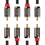 FosPower (2 Pack) 2 RCA M/M Stereo Audio Cable [24K Gold Plated | Copper Core] 2RCA Male to 2RCA Male [Left / Right] Premium Sound Quality Plug - 6FT