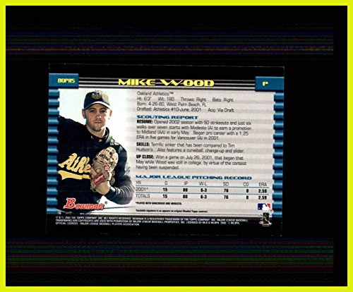 2002 Bowman Draft #BDP115 Mike Wood RC OAKLAND A'S ATHLETICS