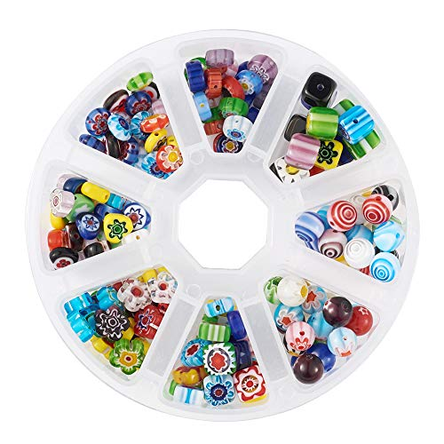 Kissitty 8 Styles Handmade Lampwork Millefiori Glass Beads Mixed Colors Loose Spacer Beads with 1 Roll 0.8mm Elastic Stretch Crystal Wire for DIY Jewelry Making