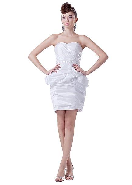 Dressilyme - Vestido de novia - sujetador bandeau - Sin mangas - Mujer Blanco blanco 44: Amazon.es: Ropa y accesorios