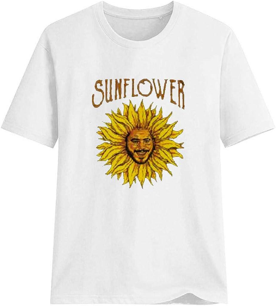 Keepfit Summer Casual Sunflower Print Short Sleeve T-Shirt Tops for Women Girls