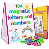 Star Right Magnetic Letters and Numbers with Dry-Erase Easel - 104 Educational Alphabet Magnets with Whiteboard for Vocabulary, Sentence Building and Math Skills