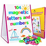 Star Right Magnetic Letters and Numbers Dry-Erase Easel-104 Educational Alphabet Whiteboard for Vocabulary, Sentenc