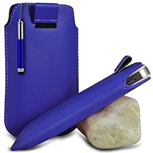 Blue Premium PU Leather Pull tab Protective Grip Soft Slip Slide in Pouch Skin Case Cover With High Sensitivity Capacitive Retractable Touch Stylus Pen For BLACKBERRY 9800/9810 TORCH (L) Mobile Cellular Phone