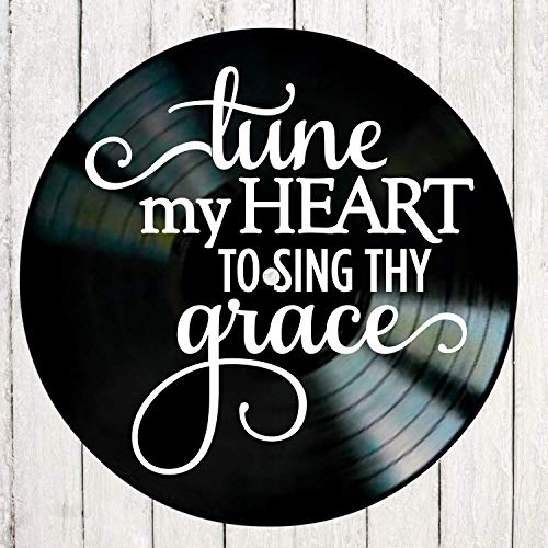 - Tune My Heart Inspirational Quote on a Vinyl Record Album Wall Art