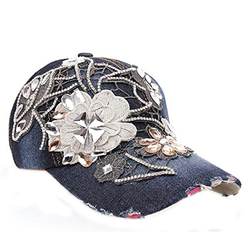 Hibelief Women Rhinestone Baseball Hats Teen Girls Denim Caps (#5)