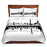 Duvet Cover Brushed Twill Twin, Queen, King SETs DiaNoche Designs by artist Angelina Vick - City IV Washington DC Home Decor, Bedroom and Bedding ideas