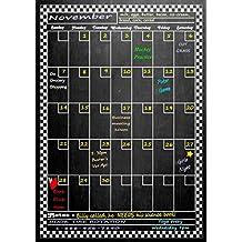"Large Vertical Magnetic Refrigerator Dry Erase Calendar 17"" X 12"" ( Dusty Chalkboard Design )"