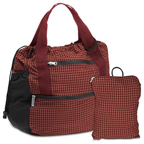 Travelon Stow-Away Backpack/Tote Duo (Dark Red Light Red Plaid) from Travelon