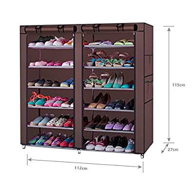 6-Tiers 12 Lattices Non-woven Fabric Shoe Cabinet with Dustproof Cover Closet 36-Pair Shoes Storage Rack Coffee (Coffee)