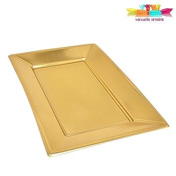 Bandejas desechables, plástico, 33 cm, 5 unidades, color dorado