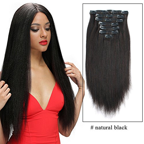 Search : Sassina Yaki Straight Clip in Human Hair Extensions 100% Real Double Wefts 7 Pieces/Set 120 Grams Clip on Hair Extensions For African American Black Women, YS 18 Inch