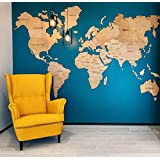 Enjoy The Wood World Map Wall Art Large Travel Gift Idea Cork Rustic Home decor Office Wall design Living room modern home Light dark natural black any color Eco-friendly - By Enjoy The Wood