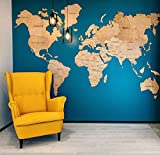 modern living room ideas Enjoy The Wood World Map Wall Art Large Travel Gift Idea Cork Rustic Home decor Office Wall design Living room modern home Light dark natural black any color Eco-friendly - By Enjoy The Wood