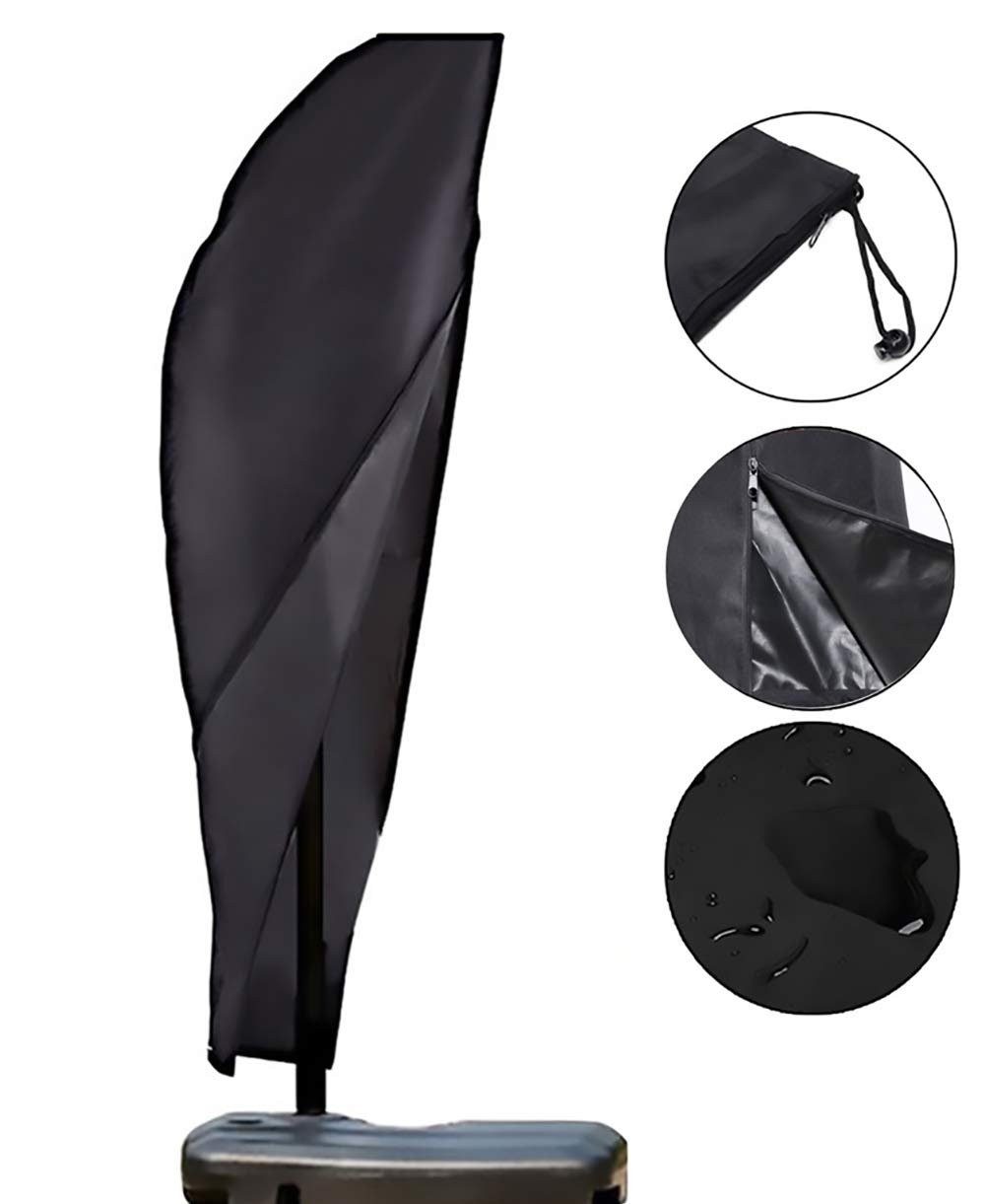 OOFIT Garden Parasol Cover Cantilever Umbrella Cover Waterpoof 600D oxford for Protecting Garden Umbrella 265 * 40 * 70 * 50cm with Zip and Drawstring - Black