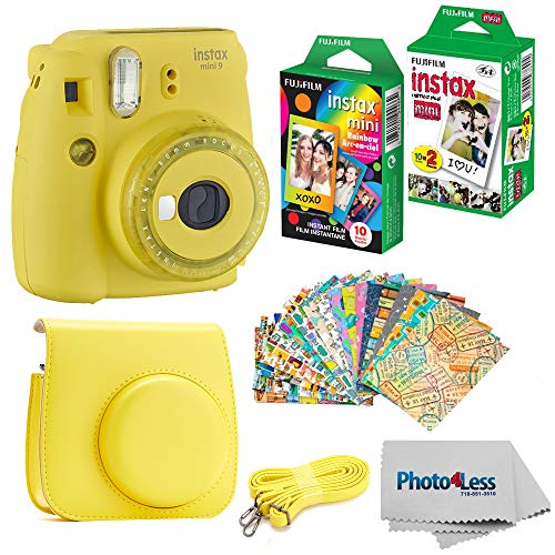 Fujifilm Instax Mini 9 Instant Film Camera - Fujifilm Instax Mini Instant Film, Twin Pack - Fujifilm Instax Mini Rainbow Film - Case for Fuji Mini Camera - Fuji Instax Accessory Bundle (Yellow) (Professional Mini Camera)