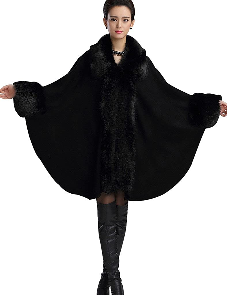 Victorian Clothing, Costumes & 1800s Fashion Aphratti Womens Wool Scarf Shawl Cape Coat with Luxury Faux Fur Collar $79.99 AT vintagedancer.com
