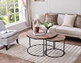 Large Round Coffee Table Set of 2 Weathered Oak/Metal Frame Round Coffee Table Nesting Set Industrial Look by eHomeProducts
