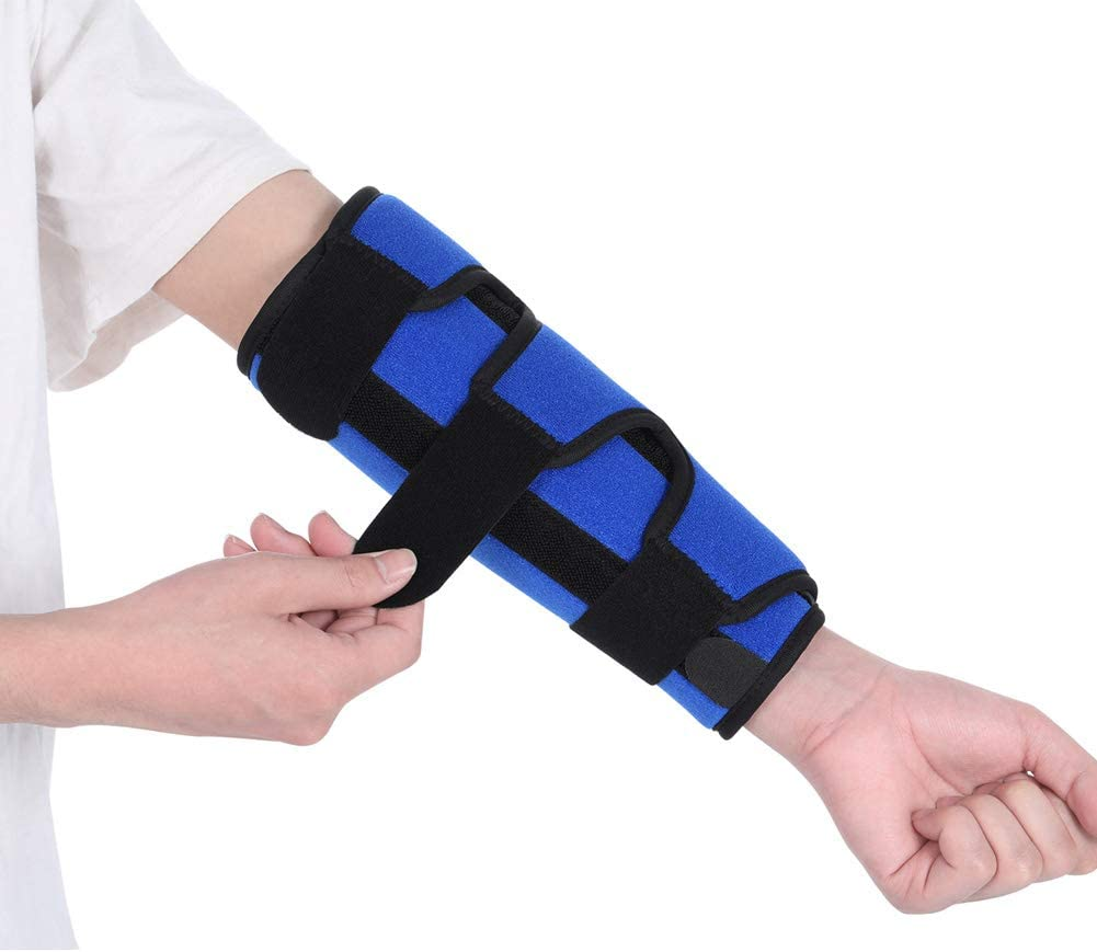 Fibee Adult Short Elbow Immobilizer Stabilizer, Adjustable Compression Elbow Support Brace Splint for Women and Men for Night Sleeping Tendonitis Pain Relief of Cubital Tunnel Syndromean, Front Pull