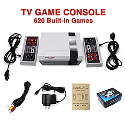 jestine Plug & Play Classic Game Console Built-in 620 Classic Game Button 2 in 1 Gamepad for NES Game Console Handheld Games Supporting 2 Players & TV Connection (4 Buttons): Toys & Games