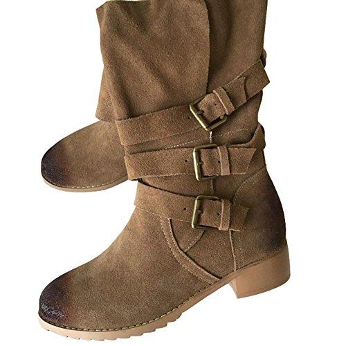 Frauen Toe Flat Skins ENMAYER Stiefel Fashion Boots Kamel Elegante Bovine Mid Snow Runde Kalb 48qqd6r