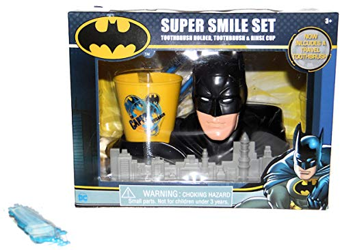 Batman Super Hero Smile Gift set, Toothbrush, Holder, Rinse Cup and Children's Flossers