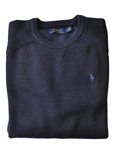 Mens Polo Neck Sweaters - Polo Ralph Lauren Mens Crew Neck Pullover Sweater (Navy Heather, Small)