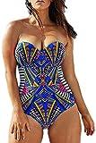 Women's Plus Size Pro Athletic One Piece Blouson Tankini Sporty Swimsuits Backless Swimwear Slimming Bathing Suit Navy L (US Size 10-12)