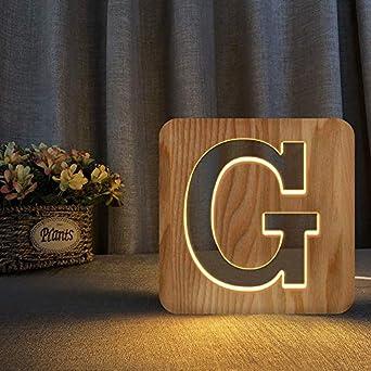 N/A Madera letras luminosas 3D LED luz nocturna subtítulos logotipo letra luces hogar 3d madera noche luz boda fiesta decoración G: Amazon.es: Iluminación