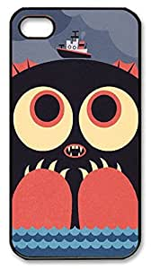 Cute Case Back Cover Case for iPhone 4 4S Covered by Cute Sea Monsters,Black Hard Plastic Case Shell Skin