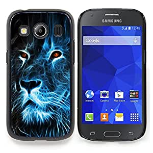 "Qstar Arte & diseño plástico duro Fundas Cover Cubre Hard Case Cover para Samsung Galaxy Ace Style LTE/ G357 (Lion Blue Fire Burning Eyes Arte Dibujo"")"