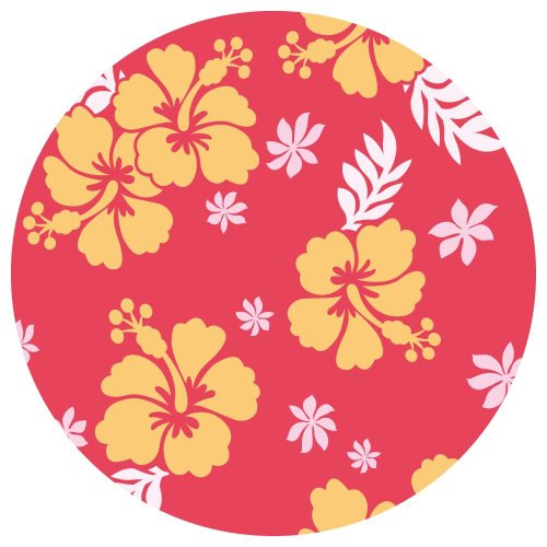 Floral Surf Red Repositionable Decorative Wall Sticker Dots (Pack of 4)
