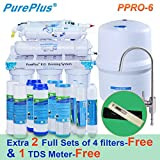 Pureplus PPRO-6 6-Stage Reverse Osmosis Drinking Water Filter System-80 GDP Plus extra 2 full sets of 4 filters&1 TDS Meter