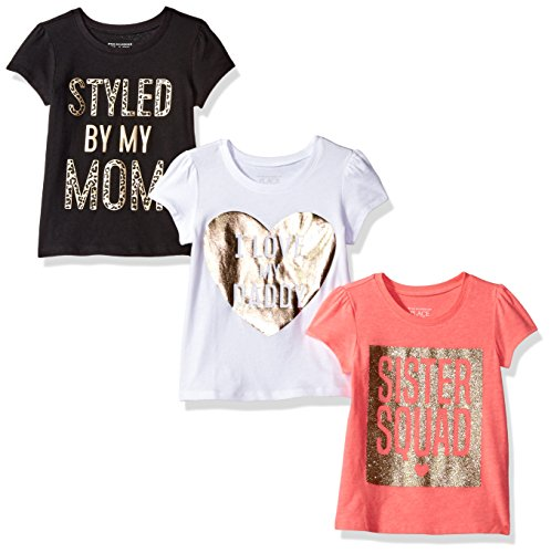 The Children's Place Baby Toddler Girls' Graphic Tees (Pack of 3), Multi Clr, 4T