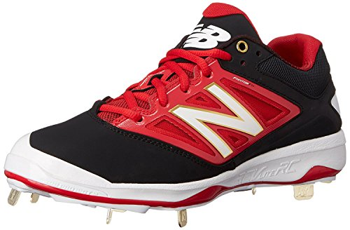 New Balance Mens L4040V3 Cleat Baseball Shoe, Negro/Rojo, 37.5 EU/4.5 UK