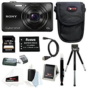 Sony DSC-WX220 DSCWX220/B 18.2 MP Digital Camera with 2.7-Inch LCD (Black) with Sony 32GB SDHC Card + Replacement NP-BN1 Battery and Deluxe Accessory Bundle