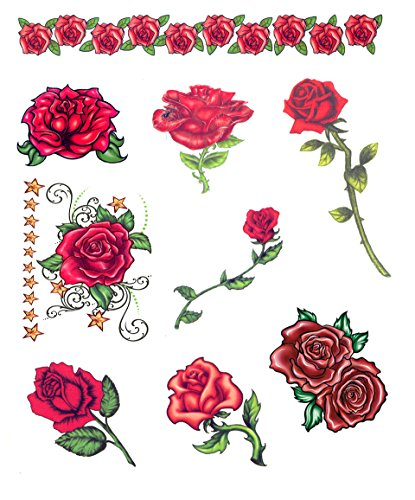 Day of the Dead Red Roses Temporary Tattoos - Set of 9 (Day Of The Dead Face Tattoo)