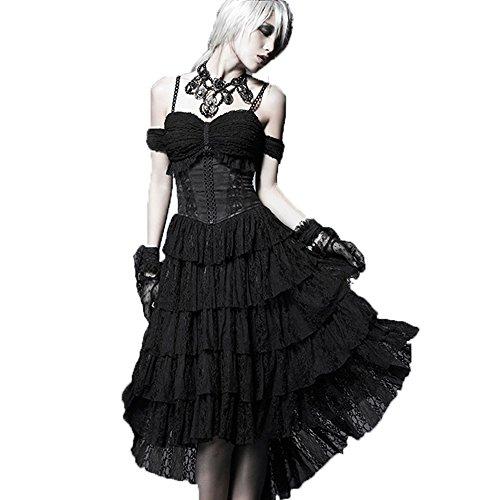 PunkRave Gothic Women's black Long suspender skirt Q-203-2XL by PunkRave