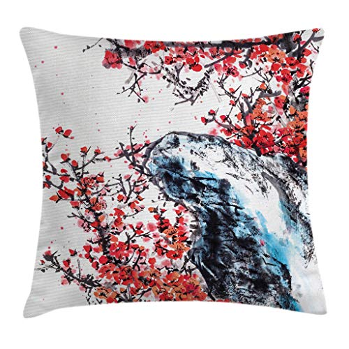 """Ambesonne Ethnic Throw Pillow Cushion Cover, Sakura Blossoms with a Bird Chinese Culture Hand Drawn Image, Decorative Square Accent Pillow Case, 16"""" X 16"""", Coral Brown"""
