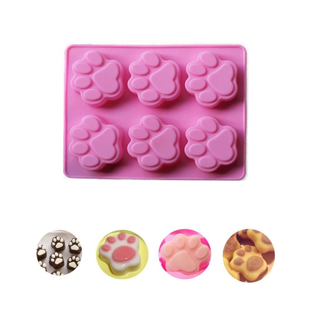 Molyveva 6 Cups Cat Paw Print Silicone Cookie Cake Candy Chocolate Mold Soap Ice Cube Mold Old Tree Store
