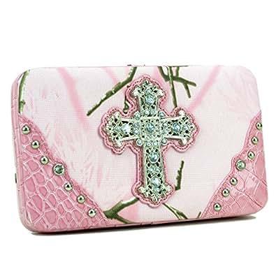 Realtree Camouflage Extra Deep Frame Wallet Purse w/ Rhinestone Cross -Pink