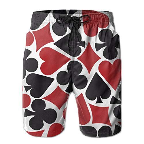 Poker Heart Square- Swim Trunks Beach Board Shorts, Men's Sportwear Board Shorts Quick Dry No Mesh Lining-XL